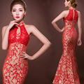 halter lace backless fishtail red sleeveless bride traditional chinese oriental dresses long traditional cheongsam customized