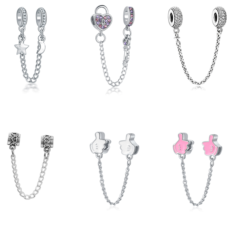 Pandora Bracelet Chain Clip-Beads Charm-Spacer Crystal Silver Hearts High-Quality Jewelry