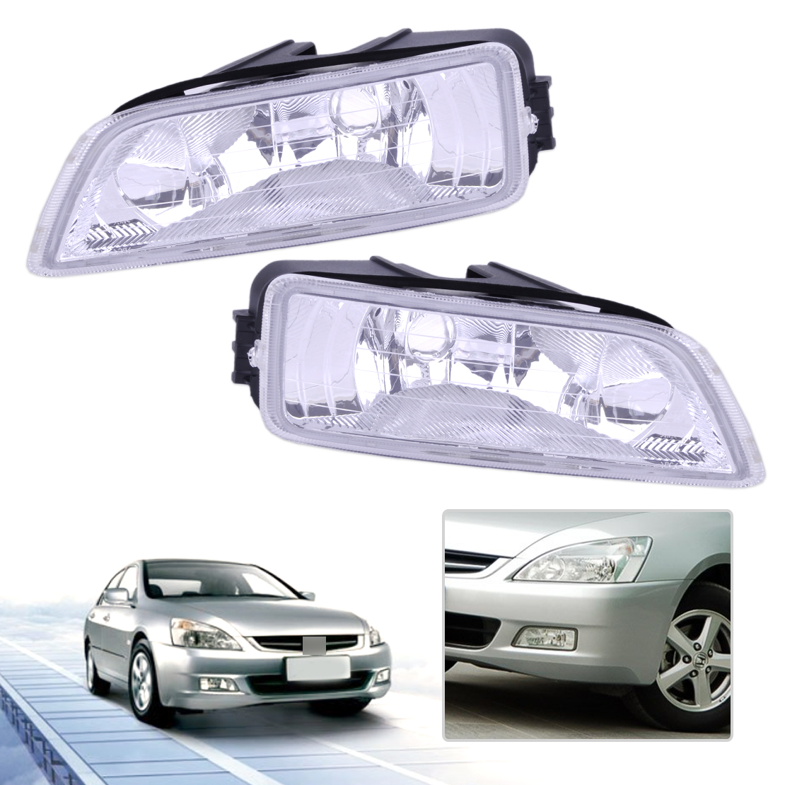 CITALL Front Right + Left Fog Light Lamp Cover Shell 33951-SDA-H01 33901-SDA-H01 Fit for Honda Accord 2003 2004 2005 2006 2007