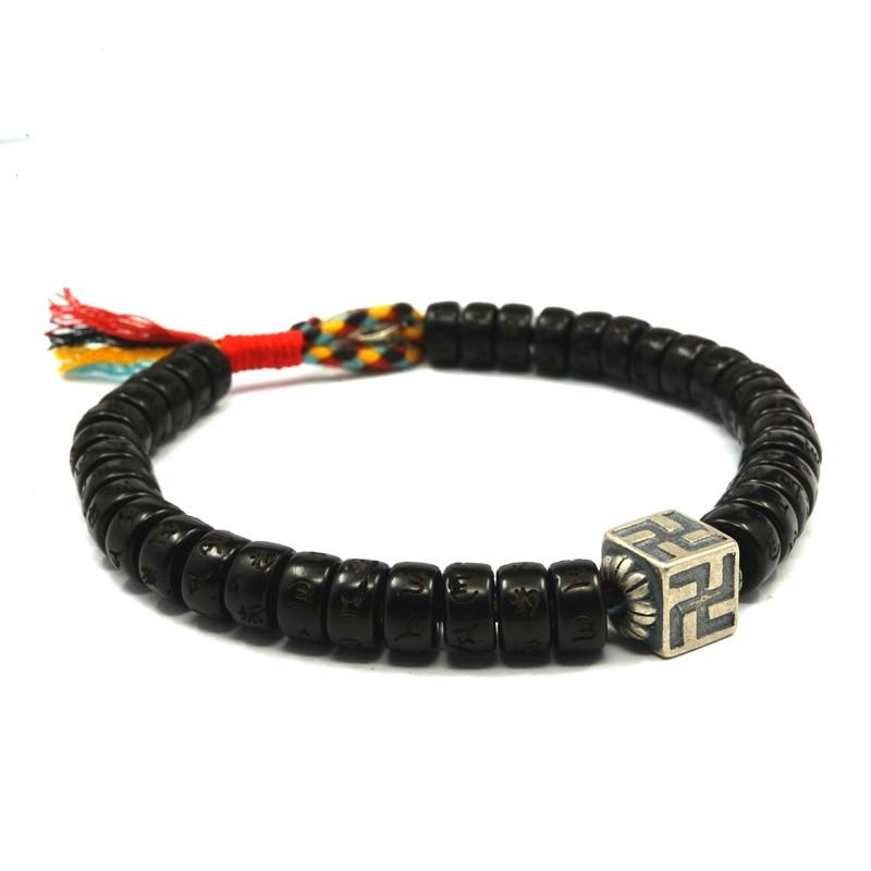 925 Sterling Silver Tibetan Buddhist  Lucky Knots Hand Braided Women Bracelet Coconut Shell Beads Carved Handmade Men Bracelets