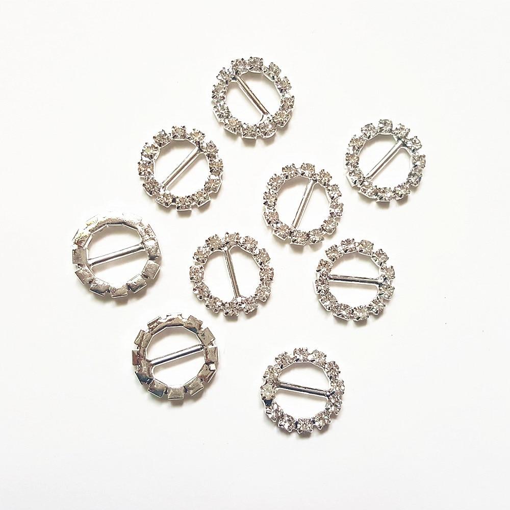 CJSIR 10Pcs DIA15mm Round Clear Crystal Rhinestone Buckle Invitation Ribbon  Slider For Wedding Silver Accessories 681628943f76