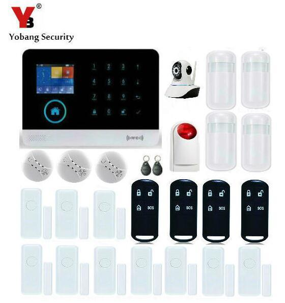 Yobang Security Wireless GSM Wifi Auto Dial Home Security Alarm System Smart Home Motion Detector Red Strobe Siren With Battery