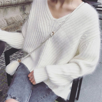 Knitted Mink Cashmere Sweater Korean Women Sweater Cachemira Lady Spring Autumn Winter V Neck Sweaters Pullover
