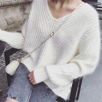 סרוגים מינק קשמיר Cachemira ליידי אביב סתיו חורף נשים קוריאני סוודר סוודר סוודרים סוודר צוואר V למשוך femme hiver