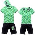 Мальчик лето короткая рукавами хлопок закрытый воротник зеленый цвет t рубашка + шорты 2 пк дети толстовки одежда 4 - 14 лет