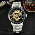 Vintage Black Men's Skeleton Wrist Watch Stainless steel Antique Steampunk Casual Automatic Skeleton Mechanical Watches Male