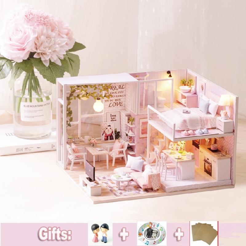 Bricolage Miniature rose maison de poupée Mini en bois Dollhoues Duplex appartement jouets maison modèle Kit de construction enfants jouets pour fille cadeau