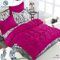 Hot Sale King Queen Ful Bedding Sets Summer Zebra Bed Sheet And Rose Red Duver Quilt Cover Pillowcase Soft And Comfortable