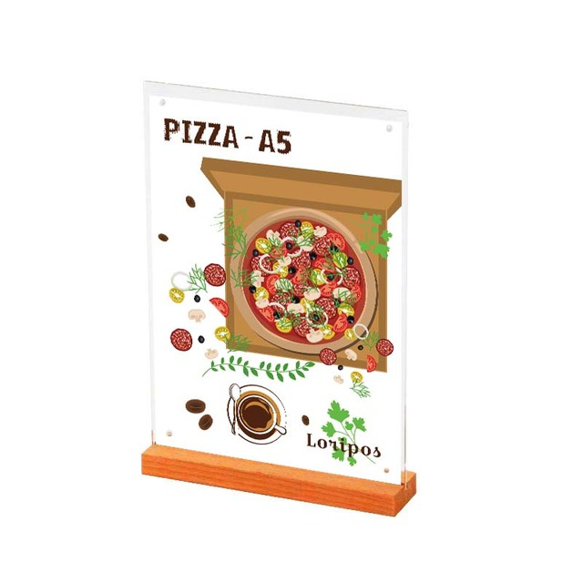 A5 Wooden Base Price Banner Display Stand Tabel Sign Menu Stand Advertising Poster frame Picture Photo Frame Label Holder Rack