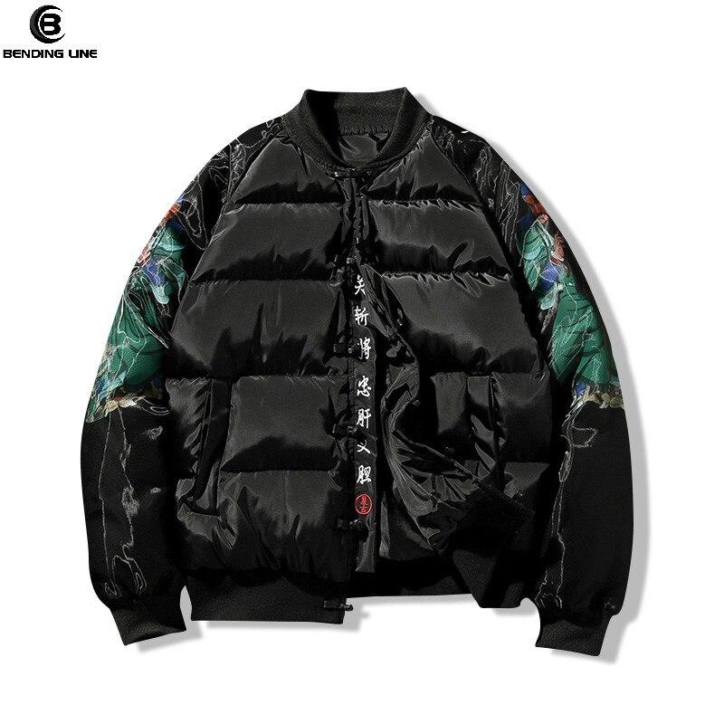 Bending Line JACKET MEN 2018 Winter Thick KANJI WINTER PARKA Jacket Chinese Wind Embroidered Jacket Men Baseball MA1 Jacket