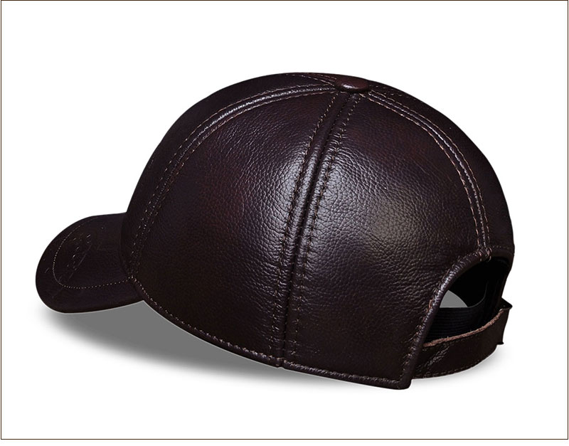 Genuine Leather Embossed Mens Baseball Cap - Brown Rear Angle View
