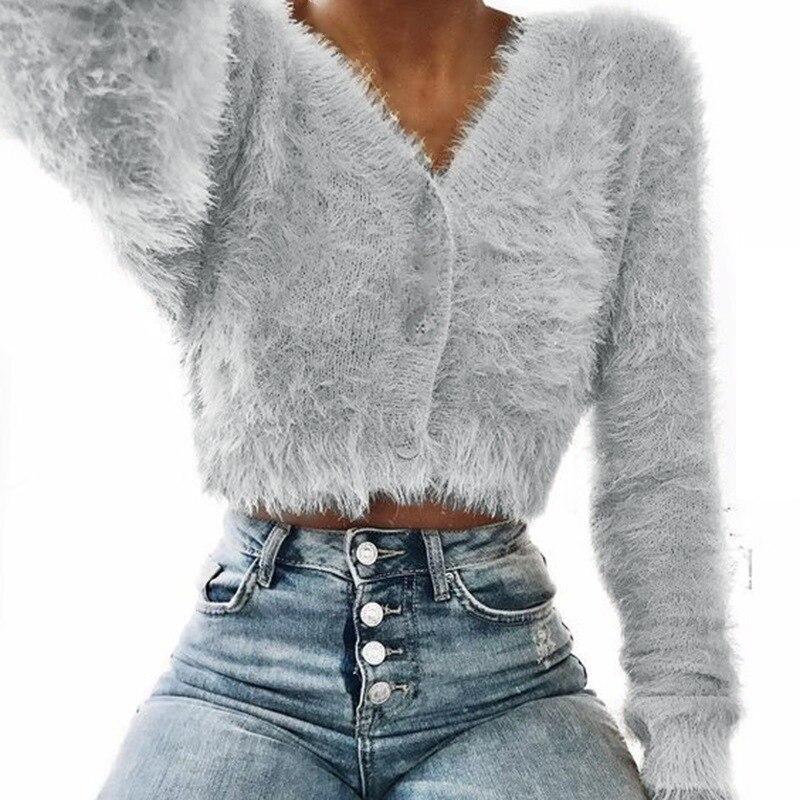 2018 neue Mode Frauen Langarm Cropped Mohair Pullover Elegante v-ausschnitt Single Button Gestrickte Pullover Casual Herbst Outwear