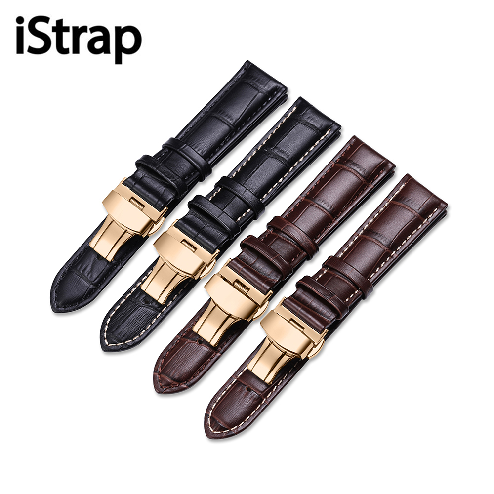 iStrap Genuine Leather Watchband Watch Band Strap for Casio IWC Breguet 12mm 13mm 14mm 15mm 16mm 18mm 19mm 20mm 21mm 22mm 24mm genuine leatherbutter with deployment clasps watchband 16mm 18mm 19mm 20mm 21mm 22mm 23mm 24mm watch strap bracelets promotion