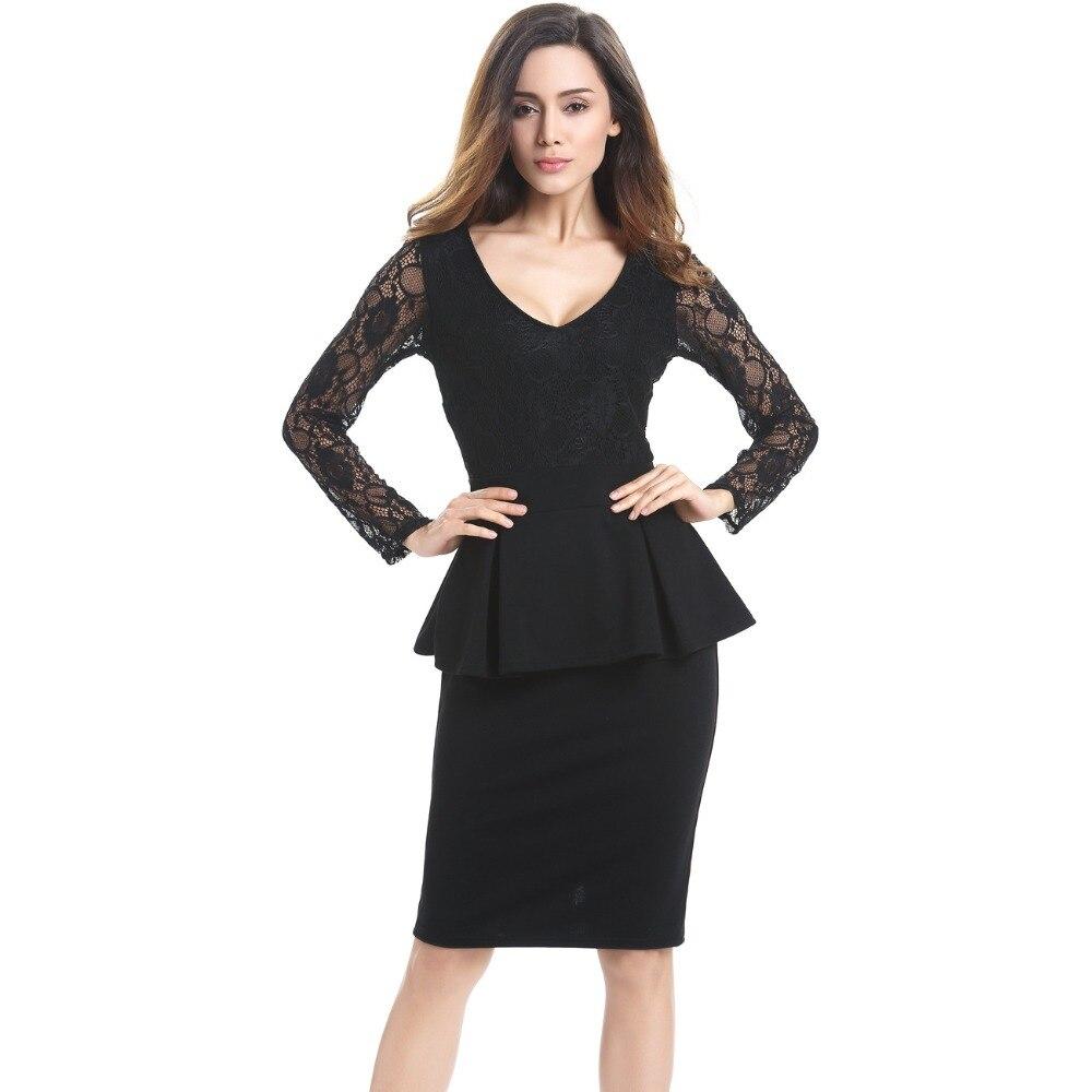 Black dress long sleeve - Women Lace Long Sleeve Dresses Black 2016 Autumn Lady Casual Work Business Office V Neck
