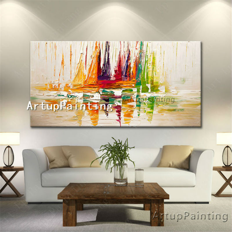 Canvas painting <font><b>boat</b></font> sailing caudro decoracion Palette <font><b>Knife</b></font> acrylic painting wall art picture for living room home decor quadro image