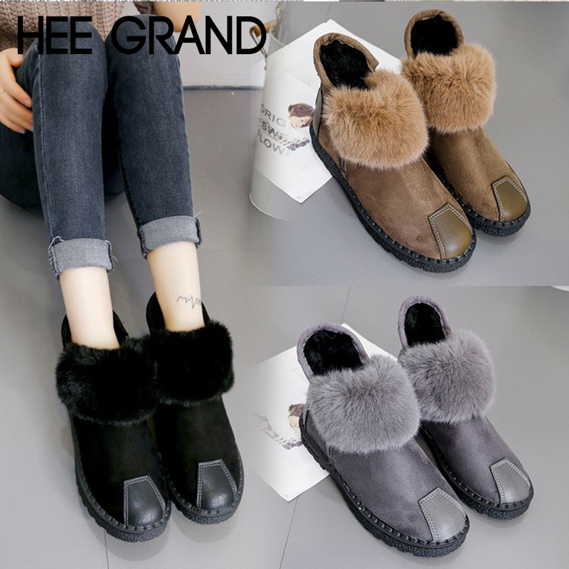 HEE GRAND Women Warm Ankle Boots Faux Fur Winter Fashion Boots Slip-on Waterproof Bootie Warm Fur Footwear Shoes Booten XWX7156