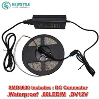 Super bright 5 m 300 leds smd 5630 led strip koud wit/warm wit 12 v waterdicht + 36 w voeding adapter free verzending