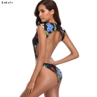 2018 Brazilian Swimming Swim Wear Retro Print Sexy Deep V Beach One Piece Swimsuits Monokini Women