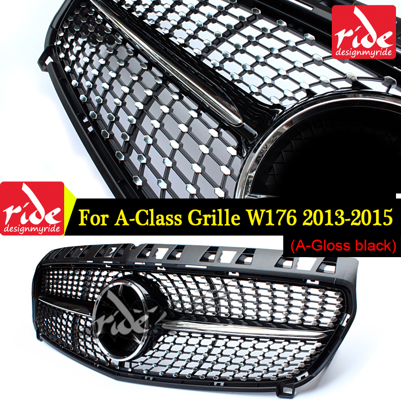 Diamond Front Grille For Mercedes Benz A-Class W176 Gloss Black Without Emblem Badge ABS Replacement 2013-15 A180 A250 A200 A300 grille