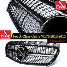 Diament przedni grill dla Mercedes Benz klasa A W176 czarny błyszczący bez znaczek z symbolem wymiana abs 2013 15 A180 A250 A200 A300