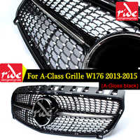Diamond Front Grille For Mercedes Benz A-Class W176 Gloss Black Without Emblem Badge ABS Replacement 2013-15 A180 A250 A200 A300