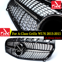 Diamond Front Grille For Mercedes Benz A-Class W176 Gloss Black Without Emblem Badge ABS Replacement 2013-15 A180 A250 A200 A300 недорого