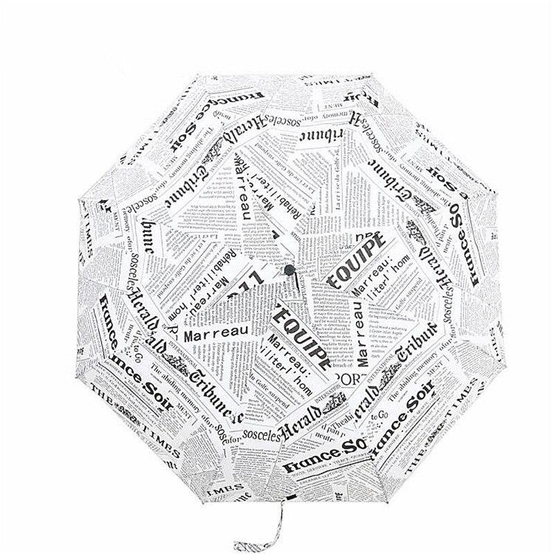New Arrival Vintage Newspaper Umbrella Rain Women Windproof Mini Umbrella Folding Resistant Parasol Rainy Woman Travel Umbrella