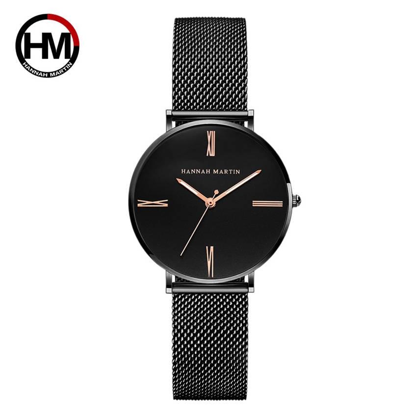Hannah Martin Black Fashion Lady Watch Japan Quartz Women Clock Casual Stainless Steel Wrist Watches Waterproof Authentic Brand