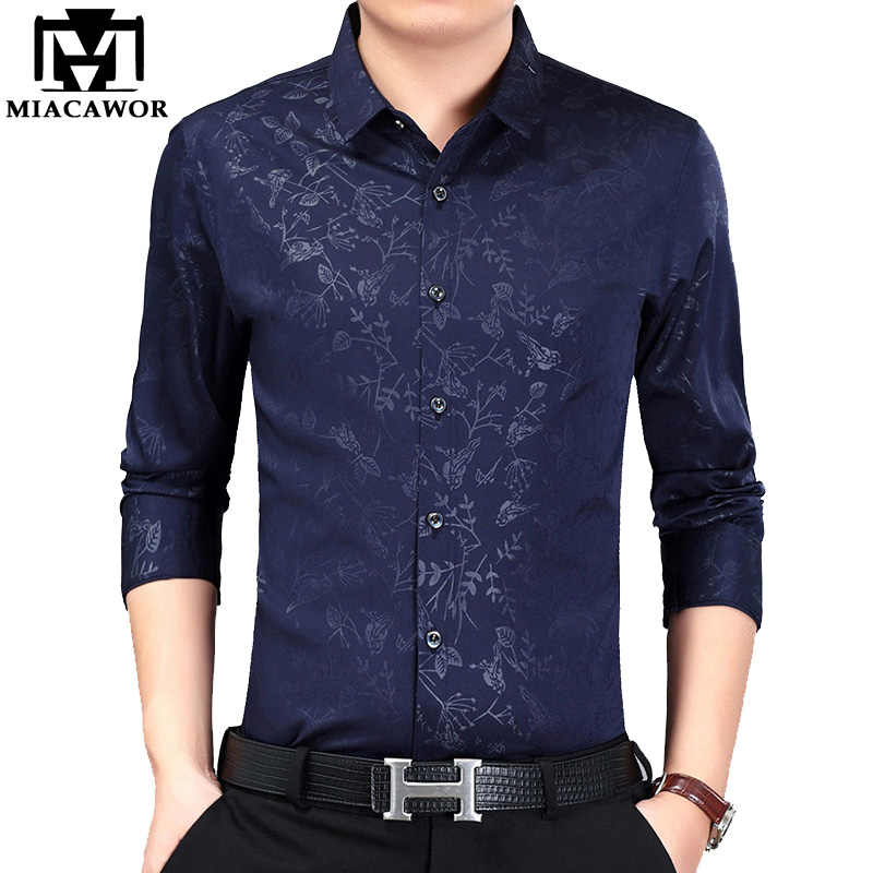 Miacawor Новинка 2019 повседневные рубашки мужские модные рубашки с принтом осенние рубашки с длинными рукавами Camisa Masculina Slim Fit рубашки C383