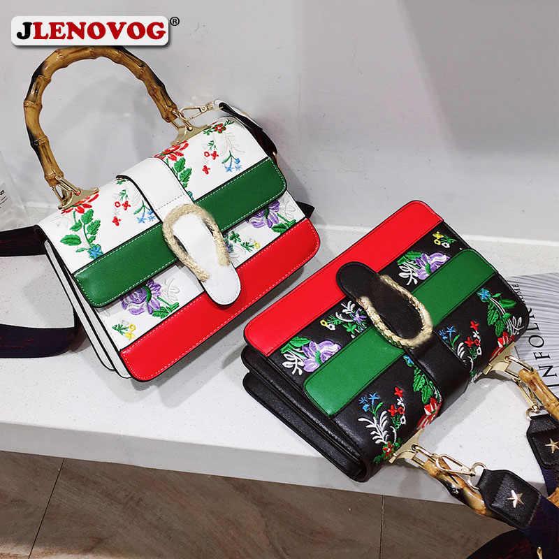 bbb1e45f9 Women's Fake Designer Bamboo Handbag Female Luxury Floral Embroidery  Crossbody Shoulder Bags for Women 2019 Handbags
