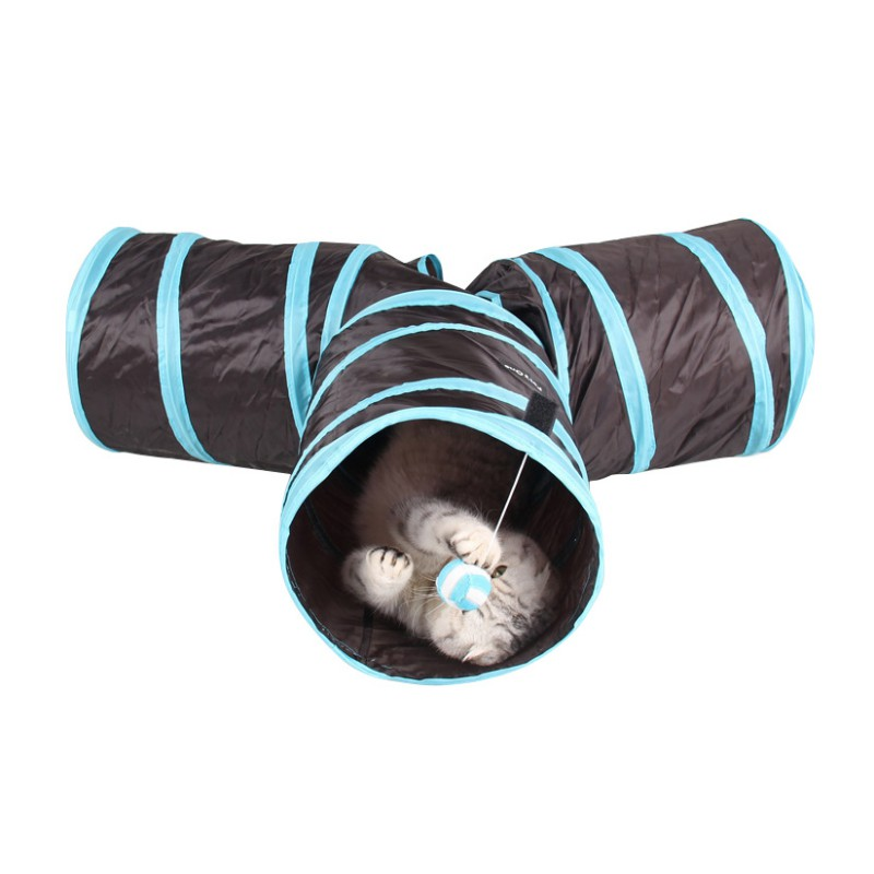 Pet Tunnel Cat Play Tunnel With Ball Foldable 3 Holes Play Crinkle Sound Cat Toy Bulk Cat Toys Rabbit Play Tunnel