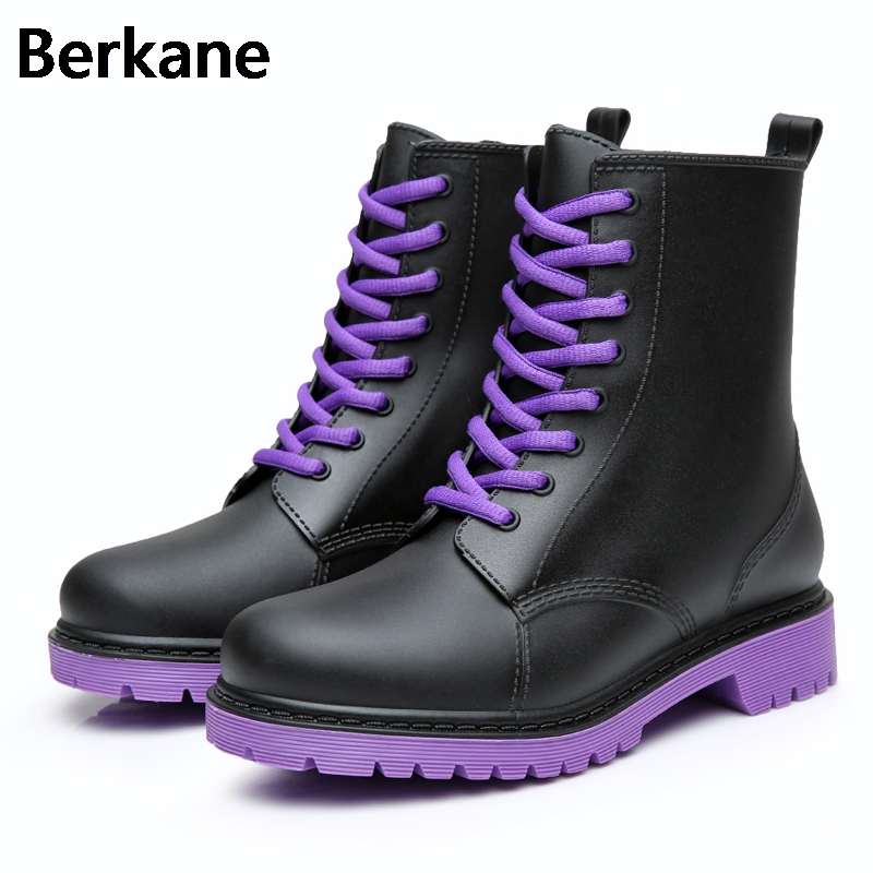 Ladies Waterproof Rain Boots Mujer Rubber Brand Lace-up Short Ankle Boots Non-slip Rainboots Water Shoes Female Botas Quality flowers purple elegant female boots gaotong water shoes rain shoes rubber shoes rubber rainboots