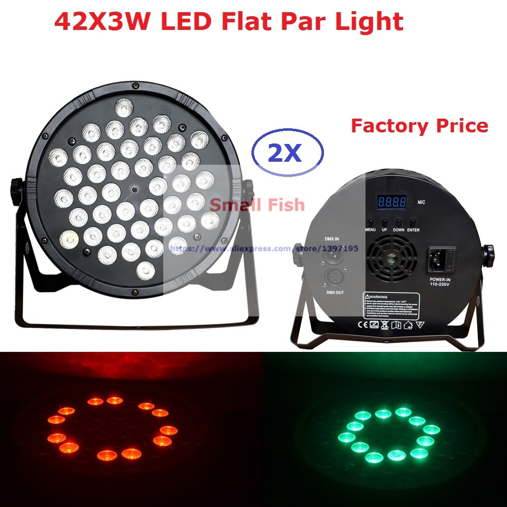 Здесь можно купить  2Pack Newest 42X3W LED Flat Par Light DMX Stage Lights Business Lights Professional Flat Par Lights 90-240V Free Shipping  Свет и освещение