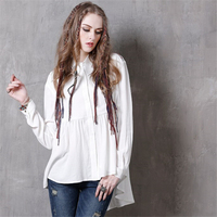 2017 High Quality Spring Autumn Women Long Sleeved Blouse Shirt Vintage Embroidered Cardigan Irregular Female Blouse