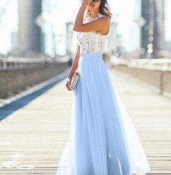Koronkowa Sukienka szyfonowa Sukienka Party biuro Sukienka Maxi bez rękawów szata Longue Femme różowy żółty niebieski Vestidos Mujer kobiety ubrania 4