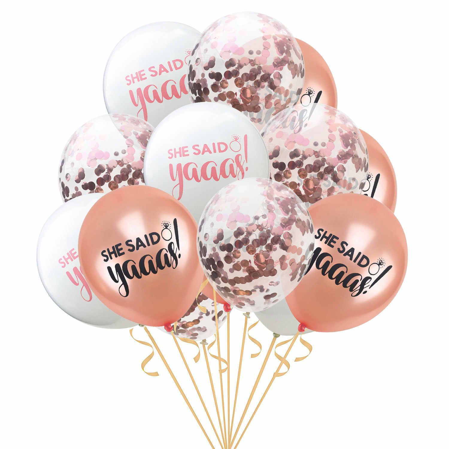 15pcs 12inch Rose Gold Clear Confetti Latex Balloons She Said Yaaas Air Balloons Bachelor Party Hen Party Wedding Decor Supplies