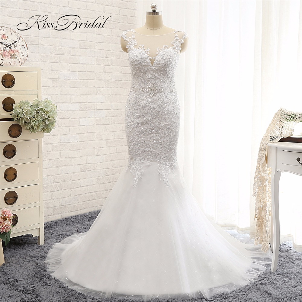 Sexy Mermaid Ren Wedding Dresses 2017 Robe de Mariee Sò Neck Short Cap Sleeve Beaded Ren Appliques Bridal Gown