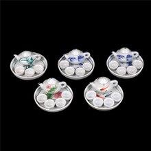6 шт./компл. Красочный цветочный принт Фарфоровая столовая посуда Чайный набор посуды чашка тарелка для кукол в миниатюре расходные материалы