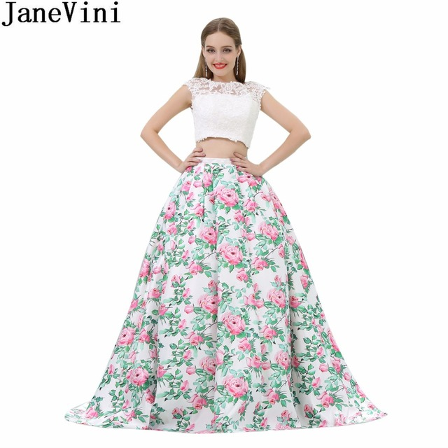 faff95e77a52d US $158.73 45% OFF|JaneVini White 2 Pieces Girls Prom Dress Floral Skirt  Lace Top Bridesmaid Dresses Long Open Back Satin Women Formal Party  Gowns-in ...