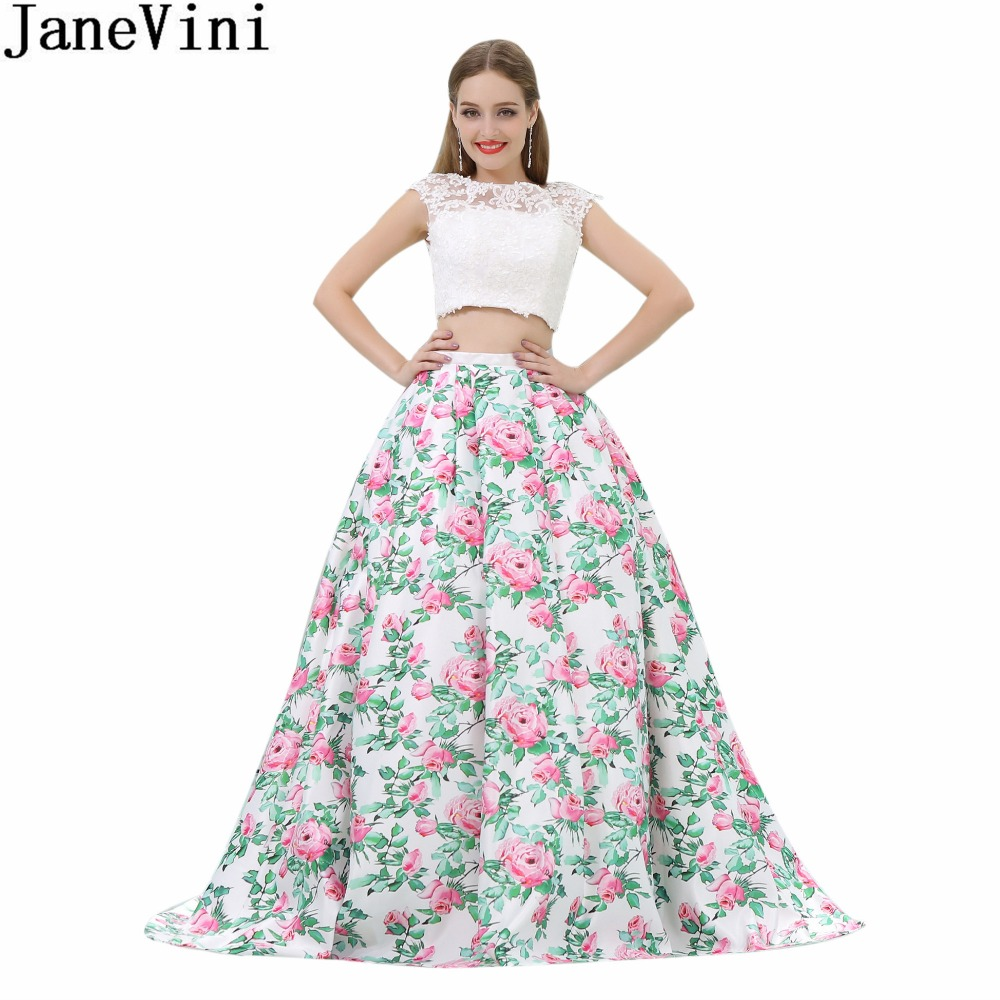 JaneVini White 2 Pieces Girls Prom   Dress   Floral Skirt Lace Top   Bridesmaid     Dresses   Long Open Back Satin Women Formal Party Gowns