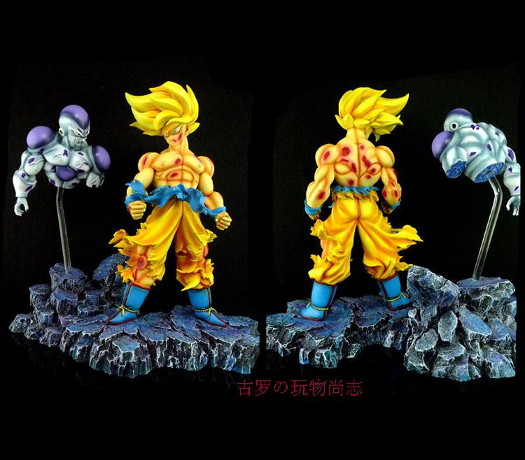 MODEL FANS Dragon Ball Z 28cm super saiyan goku battle damage vs Frieza Battle Damage gk resin action figure toy for Collection free shipping super big size 12 super mario with star action figure display collection model toy