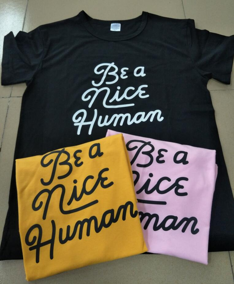 Be a Nice Human Funny T-Shirt Hipster Style Crewneck Graphic 90s Girl Graphic Top Grunge Yellow Clothes t shirt Unisex tee S-3XL