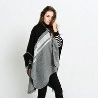 Schwarz Grau Solide Striped Big Pashmina Baumwolle Kaschmir Schals Neue Winter Quaste Schöne Große Schal