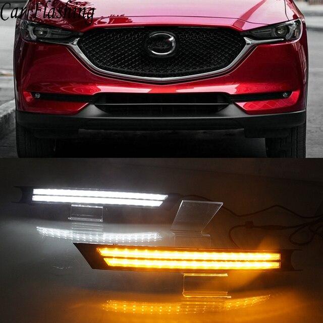 Car Flashing 2Pcs For Mazda CX 5 CX5 2017 2018 2019 DRL LED Daytime Running Light With Yellow Turning Signal night blue fog lamp