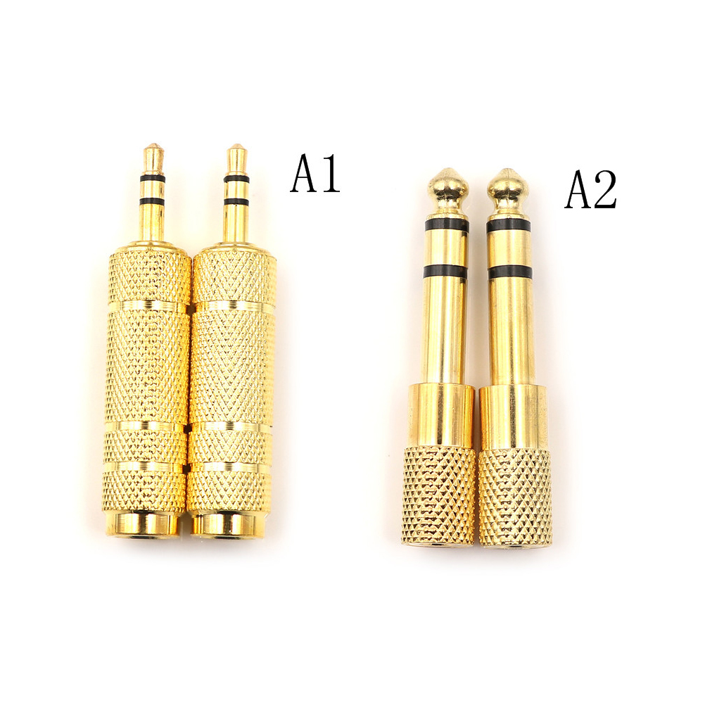 3.5mm Male to 6.5 mm Female Adapter 3.5 plug to 6.5 Jack Stereo Audio Adaptor For Microphone Headphone AUX Cable Convertor Gold image