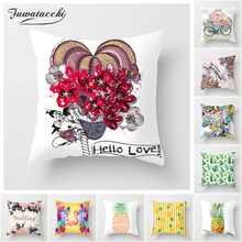 Fuwatacchi Watercolor Floral Cushion Cover Leaf Flower Pillow Case for Home Cafe Car Sofa Bed Restaurant Decoration Soft