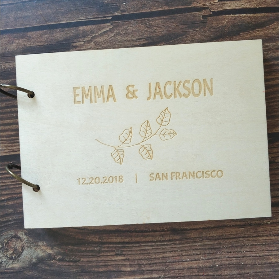 Wooden Custom Name Date Personalized Guest Book Ideas Wood Rustic Wedding Guestbook Bridal Shower Wedding Memory Book Album image