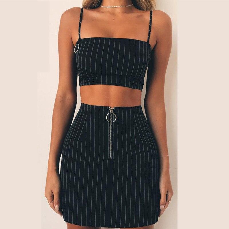 e80cee79ef 2 Piece Set Women Suit Crop Top Skirt Set Zip Up Strap Cami Stripes Mini  Skirt