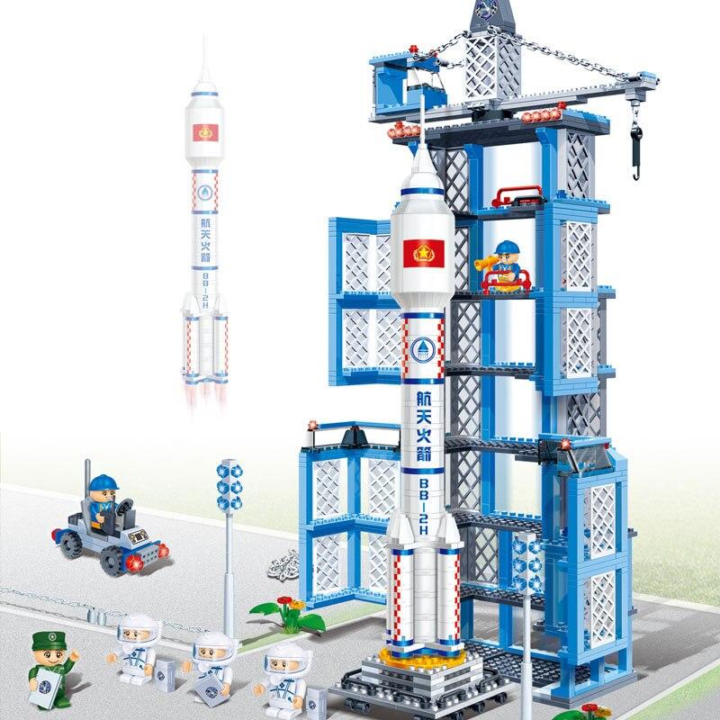 872pcs City Engineering Series Educational Building Block Sets Space Rocket Models Assembly DIY Bricks Figures Toys For Children