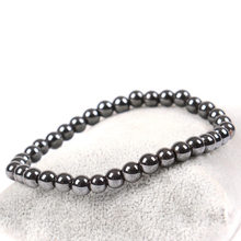 Women Black 6mm Cool Magnetic Bracelet Beads Hematite Stone Therapy Health Care Magnet Hematite Beads Bracelet Men's Jewelry(China)